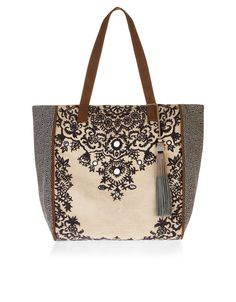 Black & Beige. Rococo Detalis on Tote Bag. For chic womens...