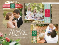 Photo Christmas Card / Holiday Cards / Greek Key / Customizable - Your Font, Color and Paper of Choice