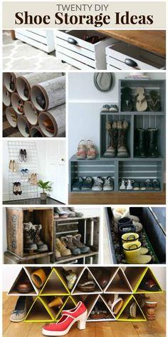 DIY SHOE STORAGE IDEAS Shoe Storage Solutions, Closet Shoe Storage, Diy Shoe Rack, Dvd Storage, Shoe Storage Cabinet, Storage Ideas, Storage Cabinets, Kitchen Storage, Diy Wall Decor
