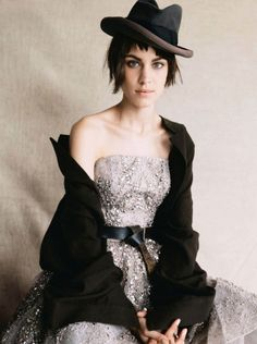 Alexa Chung in ELIE SAAB Haute Couture Autumn Winter 2013-14 shot by Patrick Demarchelier and styled by Lucinda Chambers for the October issue of Vogue UK. #inspiration #fashion #beauty #style #apparel