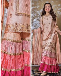 Paired with dupatta and Sharara which define with color - Designer Dresses Couture Shadi Dresses, Pakistani Formal Dresses, Pakistani Dress Design, Indian Dresses, Indian Outfits, Pakistani Designer Suits, Dresses Dresses, Dresses Online, Girls Dresses