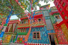 painted houses on durga puja festival at kolkata ; Calcutta ; west bengal India