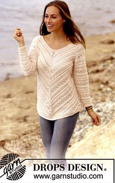 Chevron Delight jumper with raglan and lace pattern by DROPS Design Free Knittin. Chevron Delight jumper with raglan and lace pattern by DROPS Design Free Knitting Pattern. Crochet Shrug Pattern Free, Tunic Pattern, Knitting Patterns Free, Free Knitting, Crochet Patterns, Free Pattern, Knitting Needles, Drops Design, Raglan Pullover