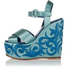 Massimo Lonardo 14 cm embroidered wedge sandals