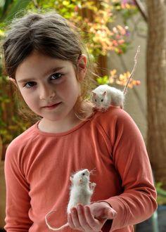 Nadel Gefilzte Maus. Weiße Maus. Echte Größe. von darialvovsky