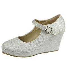 Womens Ankle Strap Glitter Mary Jane Platform Wedges Casual Pumps Silver - Sears