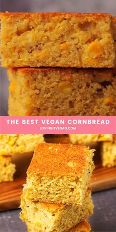The best vegan cornbread with whole corn kernels. Its wonderfully moist and tender and makes the perfect side dish. Easy Desserts, Dessert Recipes, Vegan Cornbread, Vegan Thanksgiving, Vegan Appetizers, Comfort Food, Easter Dinner Recipes, Delicious Vegan Recipes, Vegan Foods