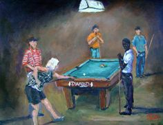 """Beating Them on the Break"", 11x14, . The player who runs the table in this particular pool hall is no ordinary player, she's the best ""Pool Shark"" and she owns these waters!!! www.tellisfineart.com"