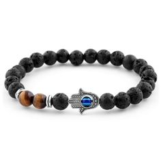 Buy Lucleon - Blue Agate & Lava Miro Bracelet for only Shop at Trendhim and get returns. Lava Bracelet, Stone Bracelet, Bracelet Set, Bracelet Making, Bracelets For Men, Beaded Bracelets, Bracelets Bleus, Tigers Eye Gemstone, Tiger Eye Beads