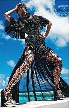 "Alexander McQueen fishnet and beaded tights - ""the well-dressed leg"""