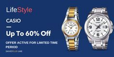 Shop with the Lifestyle Casio and get Upto 60% OFF on your purchase. The Offer  is active for limited time period #SAVIOPLUS #coupons Shopping Deals, Casio Watch, Coupon Codes, Coupons, Period, Lifestyle, Coupon