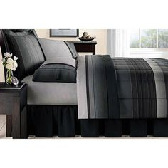 Mainstays Ombre Bed in a Bag Bedding Set, Grey