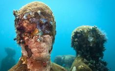 Jason deCaires Taylor casts giant cement sculptures and sinks them in the ocean to create a unique, ever-changing underwater sculpture park. Underwater Sculpture, Underwater Art, Underwater Photographer, Sculpture Art, Sculpture Garden, Under The Water, Under The Sea, Jason Decaires Taylor, One With Nature
