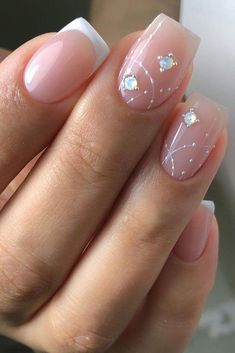 Bridal Nails Trends For 2020 ❤ bridal nails trends white pink french manicure gentle original rhinestones design xnails_baku What are the main bridal nails trends? In 2020 is all about naturalness. Look through our gallery and get inspired! Bridal Nails Designs, Bridal Nail Art, Nail Art Designs, Simple Bridal Nails, Wedding Day Nails, Wedding Nails Design, Wedding Manicure, Pink French Manicure, French Nails