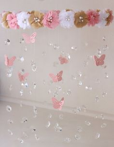 Crystal Baby Mobile, Pink Baby Mobile, Flower Baby Mobile, Pink flower mobile, Baby Mobile Crystal B Butterfly Birthday Party, Butterfly Baby Shower, Flower Mobile, Girl Baby Shower Decorations, Deco Floral, Graduation Party Decor, Girl Shower, Paper Flowers, Paper Rosettes