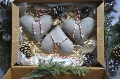Christmas Decorations – linen hearts, set of 3, christmas tree decoration – a unique product by ViolaSororia on DaWanda