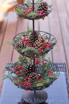 Want ideas for decorating the outside of your home on a budget? These Christmas tree luminaries and other inexpensive decor ideas from Marty's Musings will encourage you to be creative and use natural elements mixed with thrifted purchases. A beautiful ho Christmas Crafts To Make, Christmas Kitchen, Noel Christmas, Country Christmas, Christmas Projects, Simple Christmas, Winter Christmas, Christmas Budget, Christmas Cactus