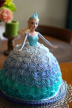 Disney's Frozen Elsa doll cake made with an Ombre Rosette skirt for a Frozen birthday party