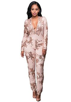 c4dcabd2a6c Women Sexy Plunge V Neck Long Sleeve Sequin Cocktail Clubwear Jumpsuit  Rompers     Check out this great product.