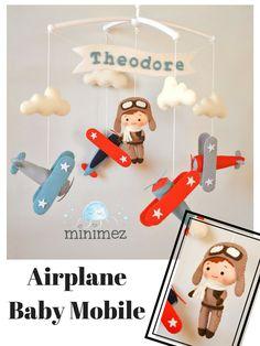 Airplane baby mobile Nursery mobile Cot mobile Crib mobile Felt Pilot Vintage plane Baby mobile boy Airplane nursery decor Baby shower gift #baby #airplane #mobile #ad