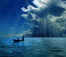 Inspiring picture awesome, blue sky light breaking through the clouds.