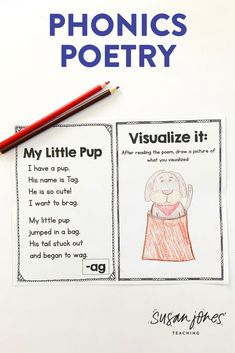 Inside my phonics poetry pack, there are 79 different phonics poems that focus on common word families and phonemes taught in Kinder, 1st grade, and the beginning of 2nd grade. Each word family or phoneme has a short, simple poem written by me, a practice page for students to record their words and sort real vs. nonsense words, and there is also a visualization sheet! Download the preview to see more!   #firstgradepoetry #secondgradepoetry #kindergardenpoetry #poetry