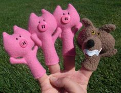 Obsessively Stitching: 3 Little Pigs Finger Puppets -- TUTORIAL