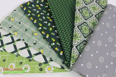 Denyse Schmidt for Free Spirit, Winter Walk, Evergreen in FAT QUARTERS 7 Total
