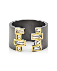 This mixed media creation from Freida Rothman syncs together shimmering baguette stones and modern graphic accents to create one statement-making ring. | Available at OKG Jewelry | Little Neck NY | okgjewelry.com