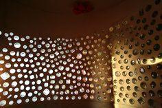 Interior bathroom bottle wall by Earthship Kirsten, via Flickr
