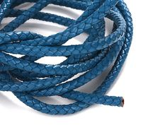 Deep Sky Blue 6mm Braided Leather Cord, Round Leather Cord, Genuine Leather Cord For Leather Bracelet, Pkg of 1 meter, D0FB.DB0W.L1M