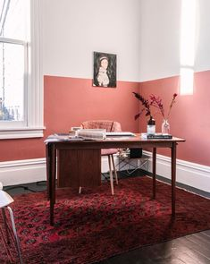 My Terracotta Home Office - imagens de French By Design Decor, Modern Home Office, Half Painted Walls, Coral Walls, Living Room Decor, Home Decor, Living Room Wall, Two Tone Walls, Interior Design