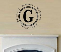 vinyl wall decal quote Family monogram circle with names. $12.95, via Etsy.