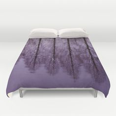 Water Trees Duvet Cover by JUSTART on Society6  #justart #s6 #society6 #duvetcover #bedding #bedroom #home #decor #trees #tree #water #purple #black #reflection