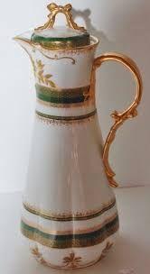 Znalezione obrazy dla zapytania green and gold antique chocolate pot