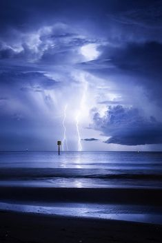 Lightning Silhouettes - Lightning Strikes on the Horizon, Silhouetting the Channel Markers Home. Storm Pictures, Pictures Of Lightning, Cool Pictures, Lightning Photography, Nature Photography, Lighting Storm, Thunderstorms, Tornadoes, Lightning Strikes