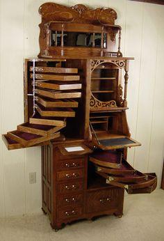 Antique American Rollfront & drawers . Golden Oak Dental Cabinet