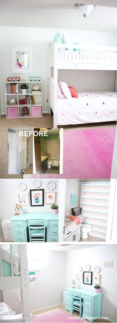 TONS of DIY projects went into this dramatic shared girls room makeover! Great inspiration for decorating a kids room!