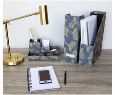 Buro Organizer Set In Gold Blau Bigso Box Of Sweden