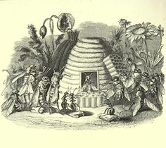 Vintage Ephemera: French children's book illustration, honey bees in skep, 1868