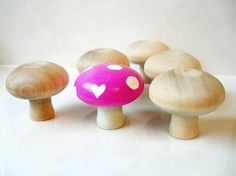 Mushroom painted wood drawer handles for an Alice in Wonderland themes girls room :D