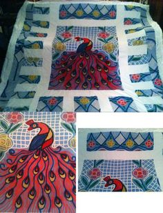Chenille Vintage Peacock / Art Deco Bed Spread ~ Gorgeous!.