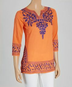 Another great find on #zulily! Orange & Purple Embroidered Notch Neck Tunic #zulilyfinds