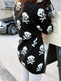 Skull Mohair Cardigan In Black