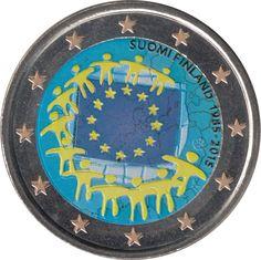 Finlandia 2015 2 € euros conmemorativos XXX Aniversario bandera Color