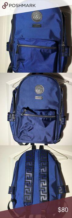 Versace Backpack Blue//Black Rucksack Weekend Gym Sack Medusa with Dust Bag