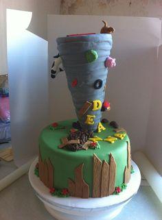 Tornado birthday cake....what a challenge.