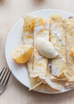 These crepes with whipped Meyer lemon ricotta are simple, classic, and uncomplicated. But instead of literally just making crepes–and adding powdered sugar and lemon juice– I decided to do a little bit of a spin on the whole lemon ricotta pancake concept. Crepe Recipes, Lemon Recipes, Brunch Recipes, Dessert Recipes, Yummy Recipes, Breakfast Recipes, Think Food, I Love Food, What's For Breakfast