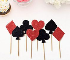 2 sets of Plum Diamonds Poker Cupcake Toppers Birthday Party Cake Decorations 516091906