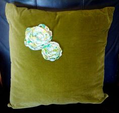 Mossy Green Velvet Pillow with Vintage Organza Flowers - $28.00